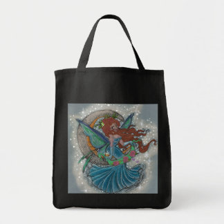 Faerie Magic Moon Grocery Tote Canvas Bags