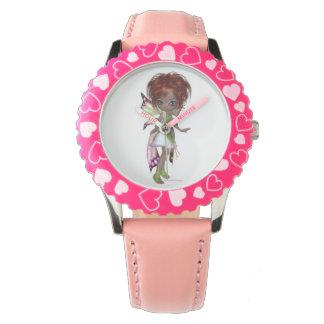 Faerie mágico de hadas en un vestido rosado y reloj