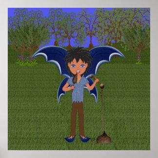 Faerie musical con alas dragón azul del muchacho posters