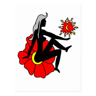 Faerie negro y rojo y flor postales