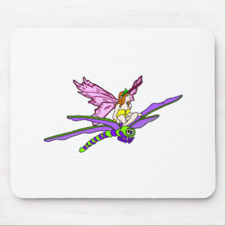 Faerie Riding a Dragonfly Mouse Pad