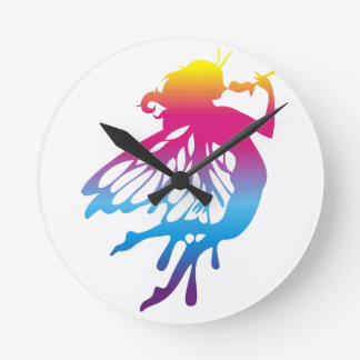 Faerie with beautiful colors round wall clock
