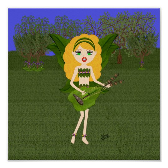 Faerie with Green Leaf  Wings and Guitar Poster