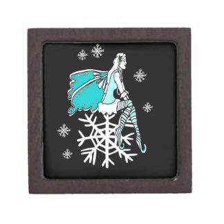 Faerie y copos de nieve de Yule del navidad Cajas De Recuerdo De Calidad