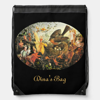 Faeries and the Robin Drawstring Backpack