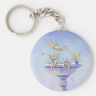 FAERIES BUBBLEBATH by SHARON SHARPE Basic Round Button Keychain