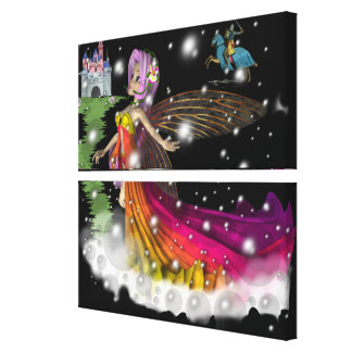 Faeries,Castles and Knights Stretched Canvas Print