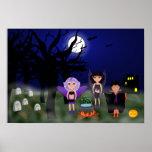 Faeries de Halloween y muchacho de Drácula Poster