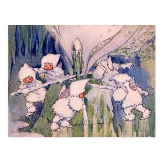 Faeries de la nieve que hacen nieve postales