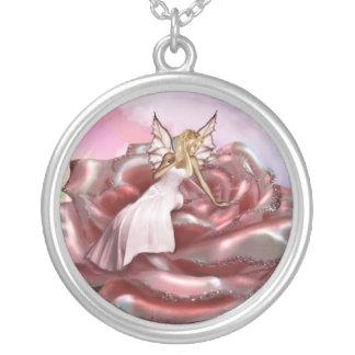 Faery color de rosa rosado (collar/colgante) colgante redondo