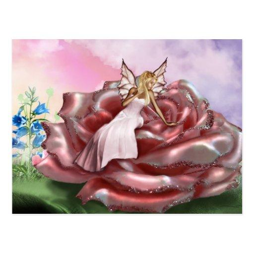 Faery color de rosa rosado (postal) postal