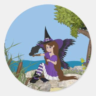 Faery de la bruja del cuervo etiquetas redondas