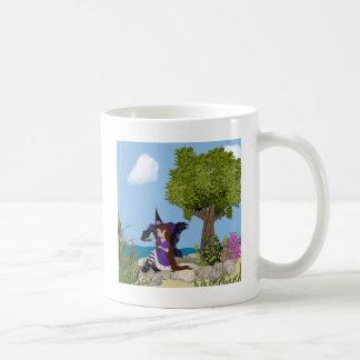 Faery de la bruja del cuervo taza de café