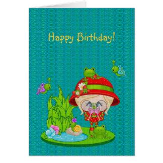 Faery de la rana del amante de naturaleza tarjeta de felicitación