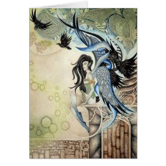 Faery del cuervo tarjeta de felicitación