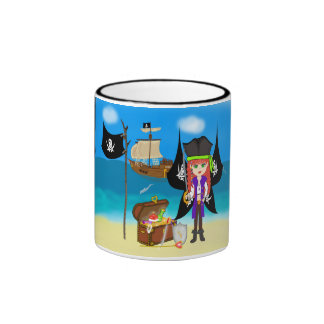 Faery del pirata con la taza de la nave y del teso