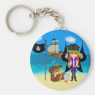 Faery del pirata con llavero de la nave y del teso