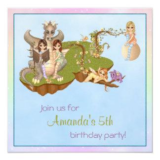 "Faery Land Friends Pixel Art 5.25"" Square Invitation Card"