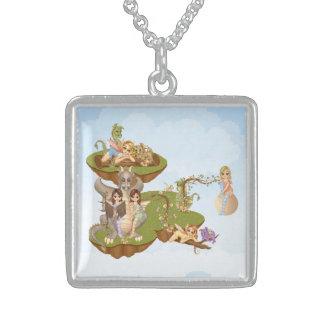 Faery Land Friends Pixel Art Square Pendant Necklace