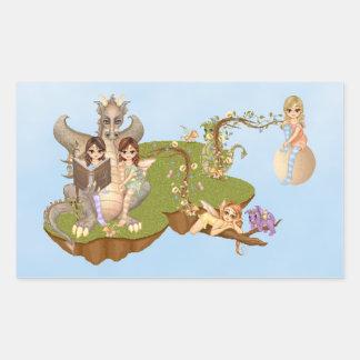 Faery Land Friends Pixel Art Rectangular Sticker