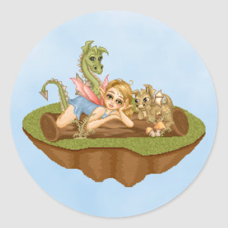 Faery Land Friends Pixel Art Round Stickers