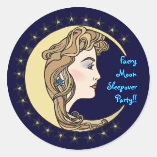Faery Moon Sleepover Party envelope sealer Classic Round Sticker