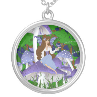 Faery on Mushroom with Butterfly Necklace