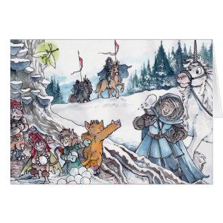 Faery Snowball Fight Card
