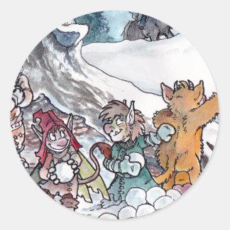Faery Snowball Fight Classic Round Sticker