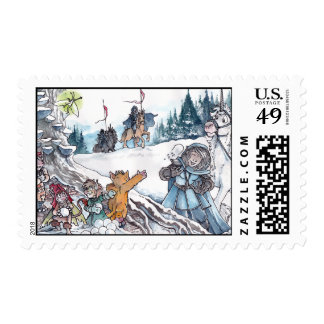 Faery Snowball Fight Postage Stamp