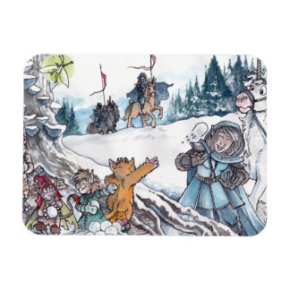 Faery Snowball Fight Rectangle Magnets