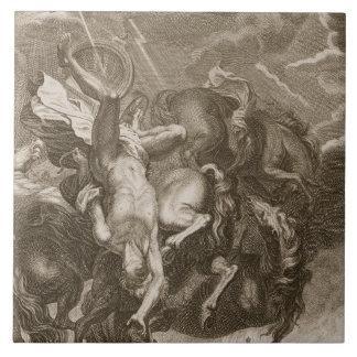 Faetón pegado abajo por el rayo de Júpiter, 1731 Azulejo Cuadrado Grande