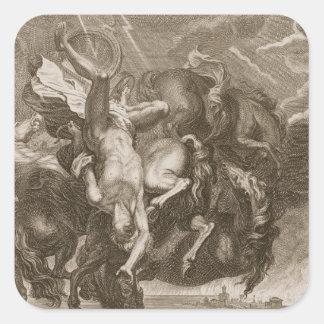 Faetón pegado abajo por el rayo de Júpiter, 1731 Pegatina Cuadrada