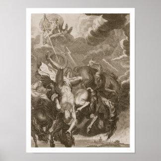 Faetón pegado abajo por el rayo de Júpiter, 1731 Póster