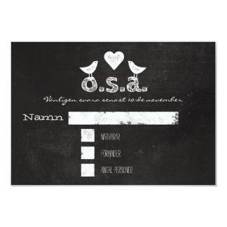 Fåglar och Hjärta Griffeltavla   Bröllop OSA Card