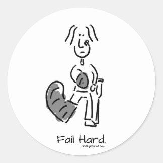 Fail Hard Classic Round Sticker
