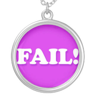 FAIL Internet Text Message Phrase Round Pendant Necklace