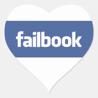 failbook pegatina en forma de corazón
