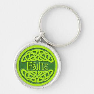 Failte - Cead Míle Fáilte Silver-Colored Round Keychain