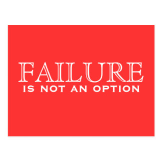 Failure is not an option - Red and White postcard