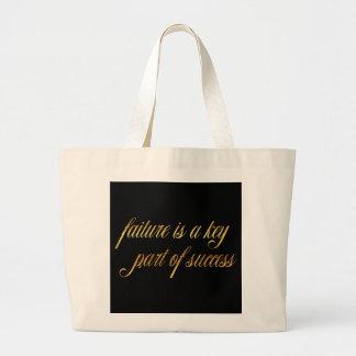 Failure Success Quote Gold Faux Foil Inspirational Jumbo Tote Bag
