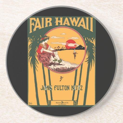 Fair Hawaii Vintage Music Cover - Coaster