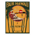 Fair Hawaii Vintage Sheet Music Cover Poster