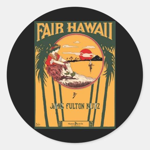 Fair Hawaii Vintage Sheet Music Cover Round Sticker
