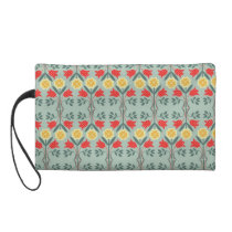 Fair isle fairisle floral retro hipster pattern wristlet purse