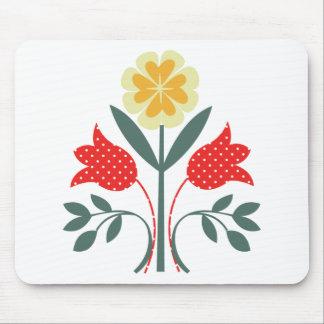 Fair isle floral pattern folk art print mouse pad