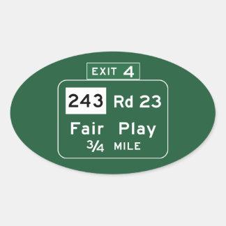 Fair Play, Road Marker, South Carolina, USA Oval Sticker