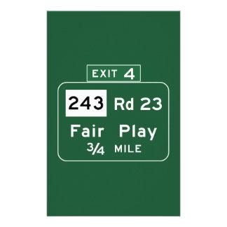 Fair Play, Road Marker, South Carolina, USA Custom Stationery