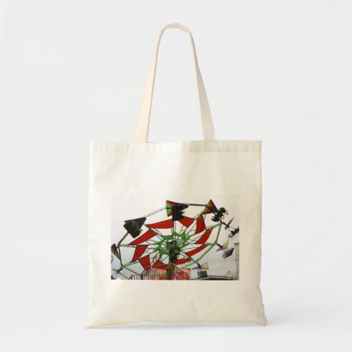 Fair Ride Flying Glider Green and Red Image Tote Bags
