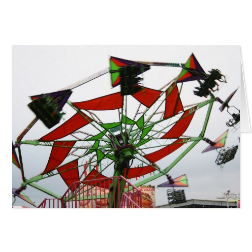 Fair Ride Flying Glider Green and Red Image Stationery Note Card